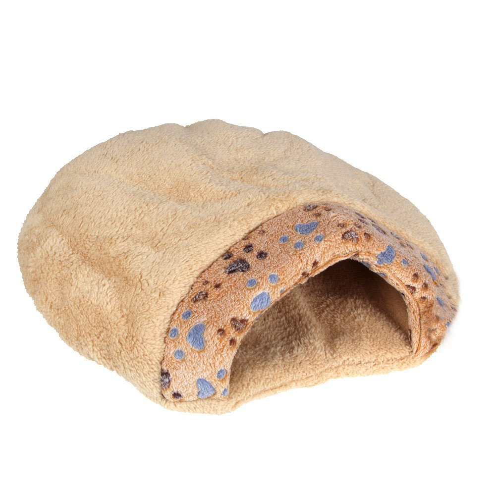 New Winter Warm Pet Dog Cat Bed House Cushion Half Covered Bed Sleeping Bag Comfortable Cute Hamburger Shape Plush S