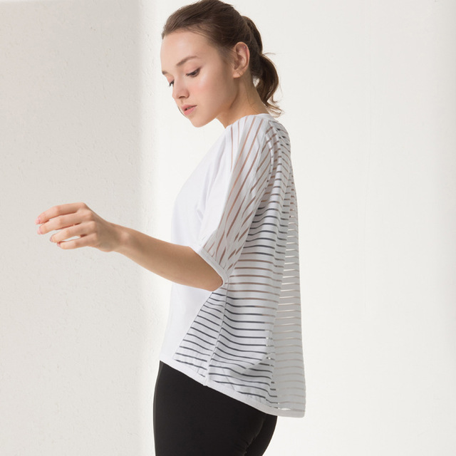 cheap sale new styles meet US $13.65 9% OFF Gym Fitness Back White Black Stripe Yoga Top Tee Shirt  Femme Short Sleeve Sport T shirts Women T Shirts Sport Top Fitness Women-in  ...
