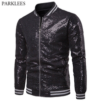 Mens Black Sequin Jacket 2018 Brand New Nightclub DJ Prom Bomber Jacket Men Casual Jackets Veste Homme Stage Clothes for Singers