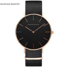 Hannah martin diseñador reloj de los hombres de las mujeres relojes moda casual reloj de lujo superior de la marca de cuero de nylon reloj horas relogio masculino
