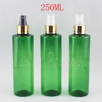 250ML Green Plastic Bottle With Gold Spray Pump , 250CC Empty Cosmetic Container , Toner / Water Packaging Bottle ( 25 PC/Lot )