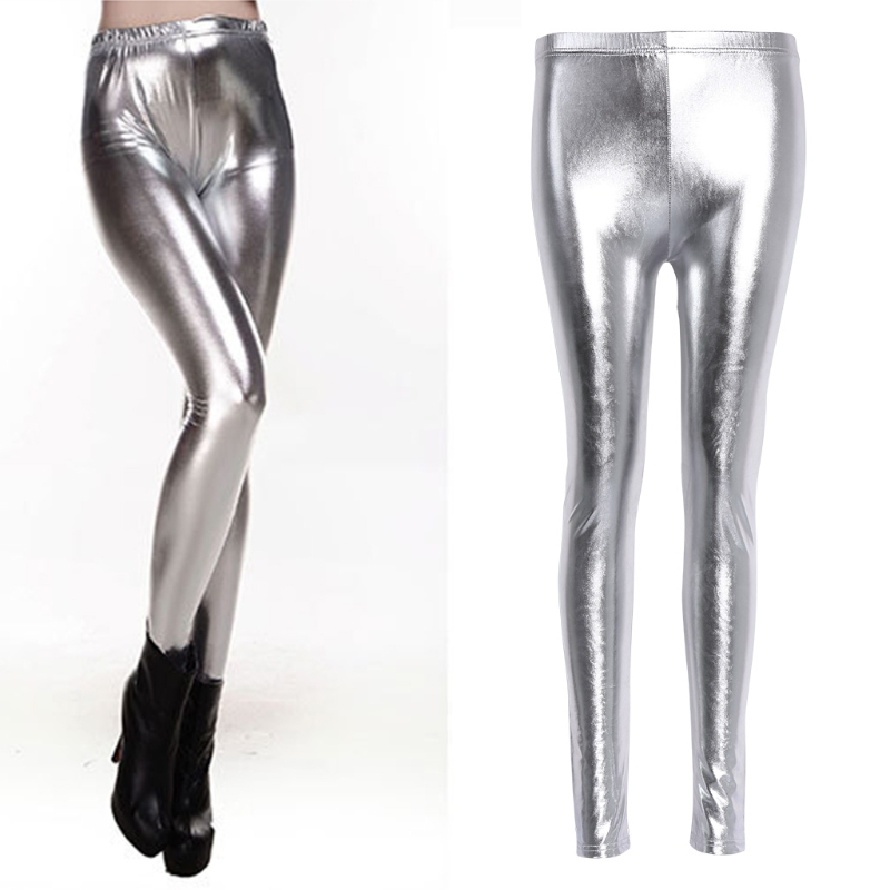 2018 Fashion Women Sexy Shiny   Leggings   High Waist Faux Leather Pencil Pants Stretch Silver Gold Solid Elastic New Soft   Legging
