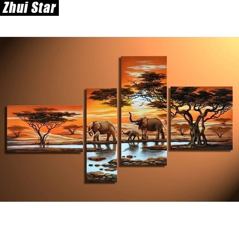 Zhui Star 5D DIY Full Square Diamond Painting Elephant family Multi-picture Combination Embroidery Cross Stitch Mosaic Decor Zhui Star 5D DIY Full Square Diamond Painting Elephant family Multi-picture Combination Embroidery Cross Stitch Mosaic Decor
