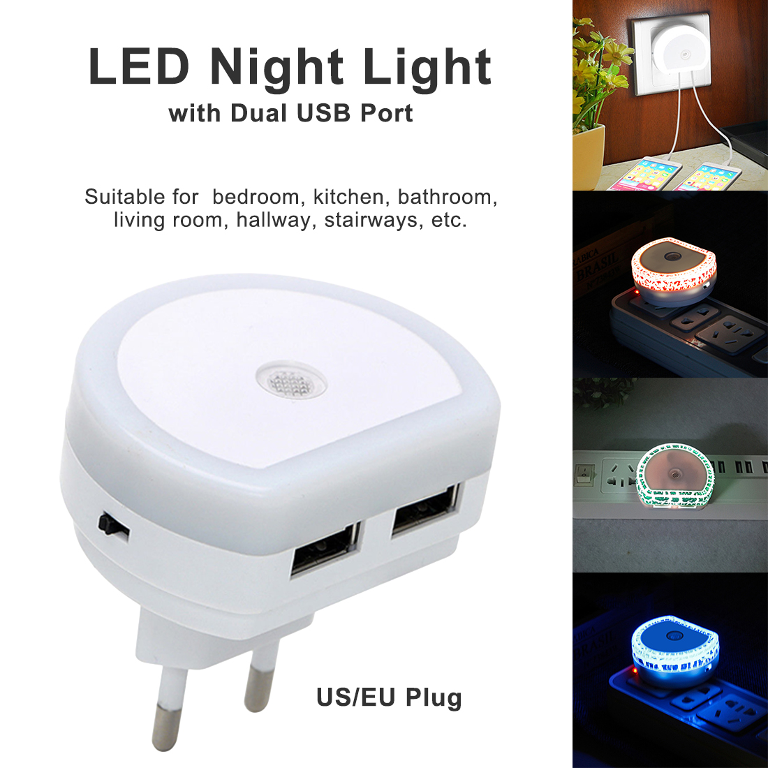 Dual USB Wall Charger Plug Dusk To Dawn Sensor Wall Lamp LED Night Light EU/US Plug