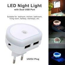 Naścienna z podwójnym gniazdem USB wtyczka ładowarki czujnik zmierzchu kinkiet LED lampka nocna ue/US wtyczka