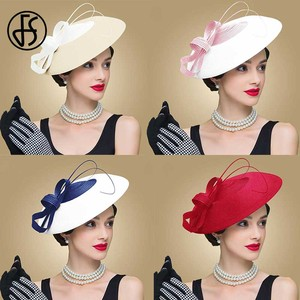 Image 4 - FS Fascinators Black And White Weddings Pillbox Hat For Women Straw Fedora Vintage Ladies Church Dress Sinamay Derby Hats