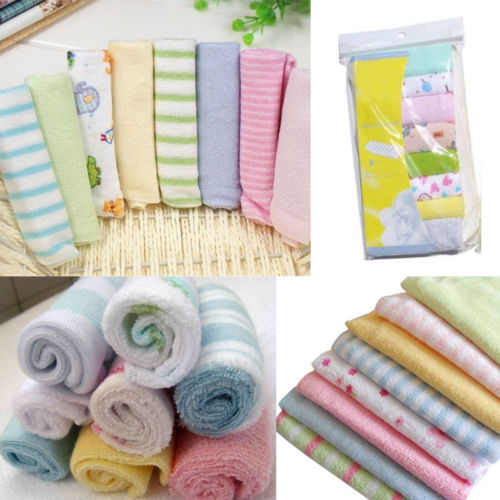 8Pcs Baby Girls Boy Infant Newborn Bath Towels Set Cotton Washcloth Bathing Feeding Wipe Cloth Soft Shower Towel