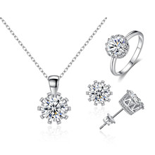 KobitAce 3 sets of crown ring necklace earrings with Necklace Earrings Ring micro green electroplating ladies