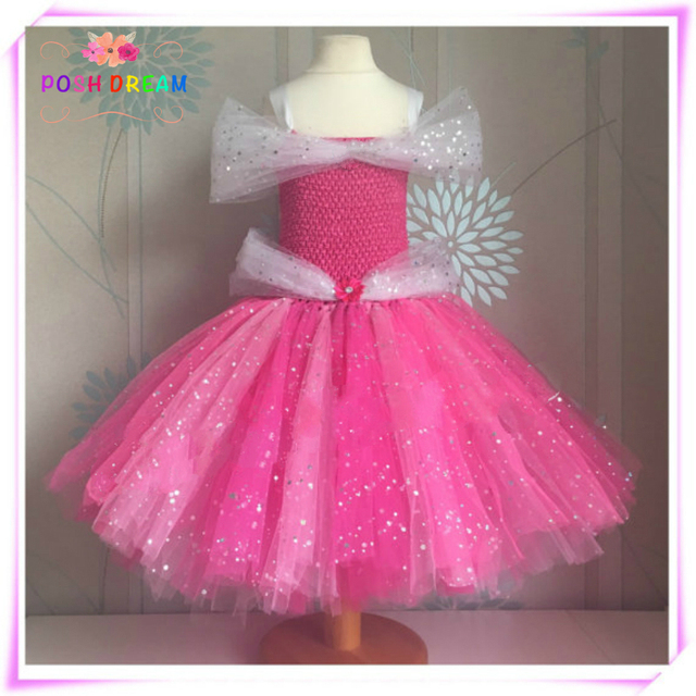 72e706506 Sparkly Sleeping Beauty Dress Aurora Inspired Handmade Kids Girls Dress  Sparkly Pink Princess Baby Girl Tutu Dress Cosplay Party