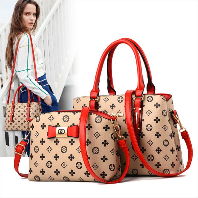 2 pieces / set 2018 new women's fashion shoulder bag handbags Christmas gift retro PU leather handbag 2