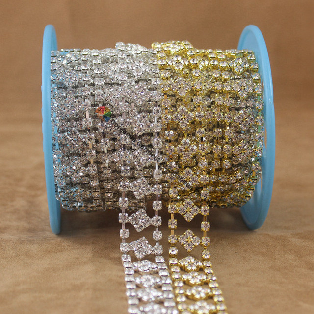 10yards 2cm Stunning Clear Czech Rhinestone Cup Chain Crystal Diamond chain  Gold Silver Set for DIY browband wedding accessories 1645e4bf23c8