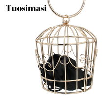 fancy form metall birdcage form damer handväska koppling väska med satinpåse (C357)