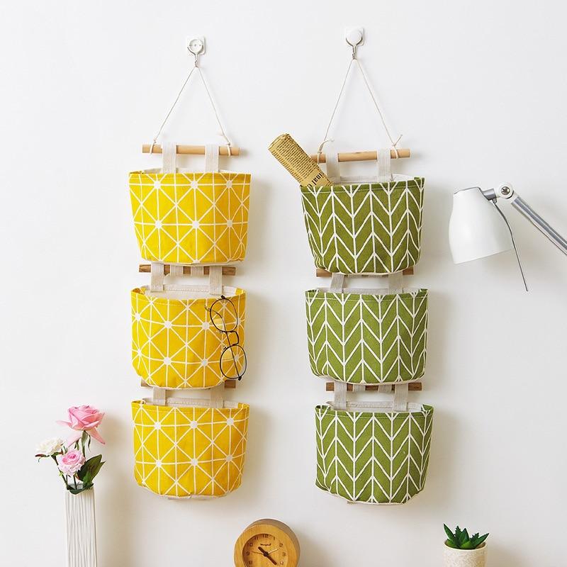 Creative linen waterproof storage hanging bag multi-layer cotton fabric pocket home accessories cosmetics sundries organizer