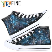 YJRVFINE Star Forest Fashion Men Casual Shoes Men Walking for Male Flat Shoes Fashion Breathable Hand Painted Shoes R1051M