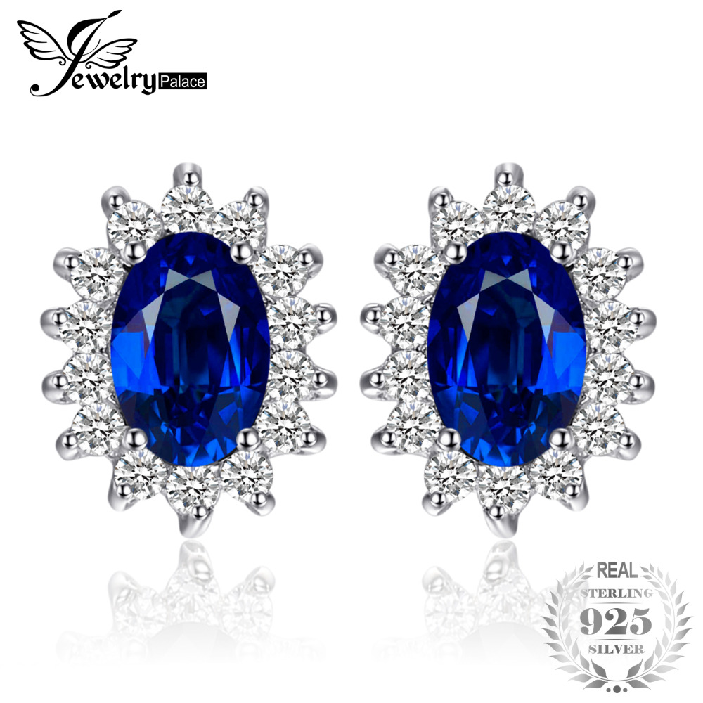 JewelryPalace 1.5ct Oval Blue Sapphire Earrings Stud 925 Sterling Zilver Fashion Princess Diana Engagement Wedding Accessories