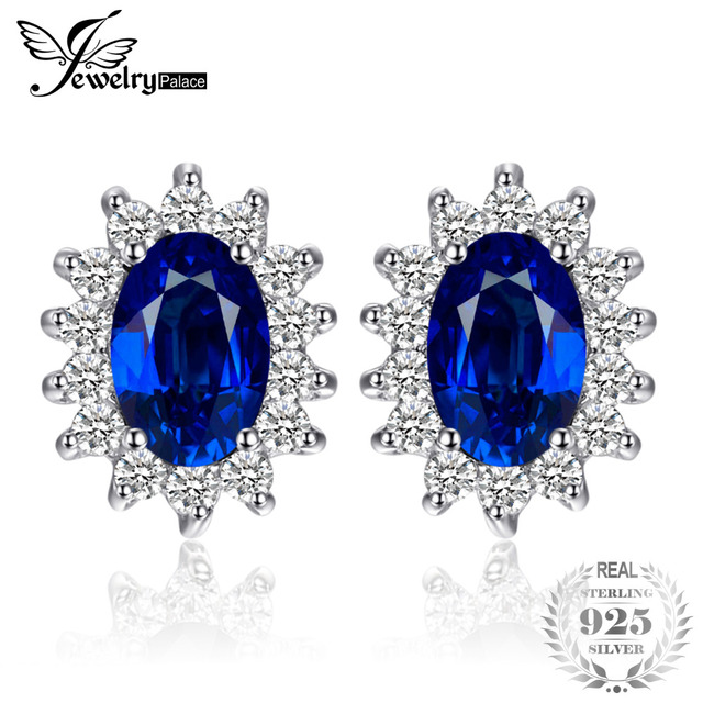 Jewelrypalace 1 5ct Oval Blue Shire Earrings Stud 925 Sterling Silver Fashion Princess Diana Engagement Wedding