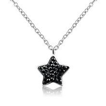 New style !Dormith Free Shipping 925 Sterling Silver Rhinestone Choker Necklace Ruby red Czech Diamond Star Pendant necklace