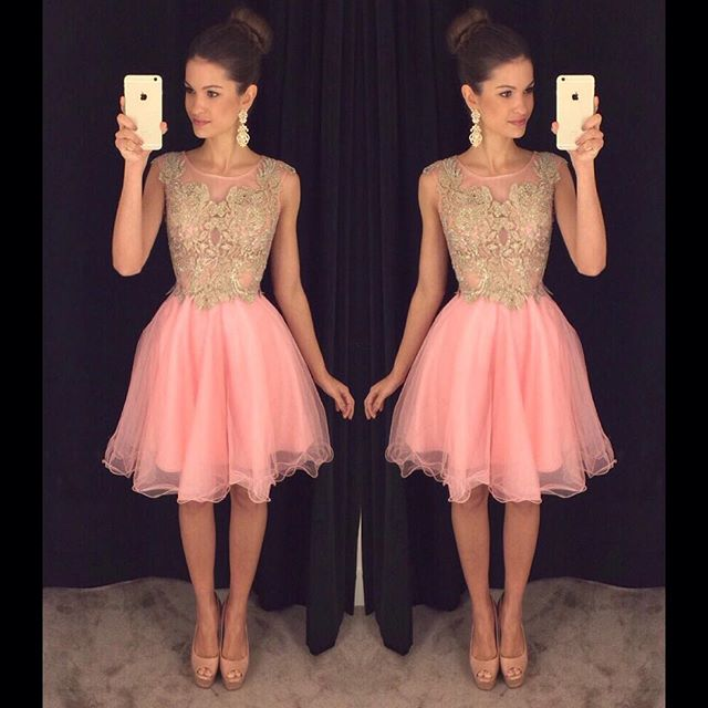 c0c9fb94bf8 vestidos formatura 2017 New Style Pink Prom Dresses Short Gold Appliques  8th Grade Graduation Homecoming Dress