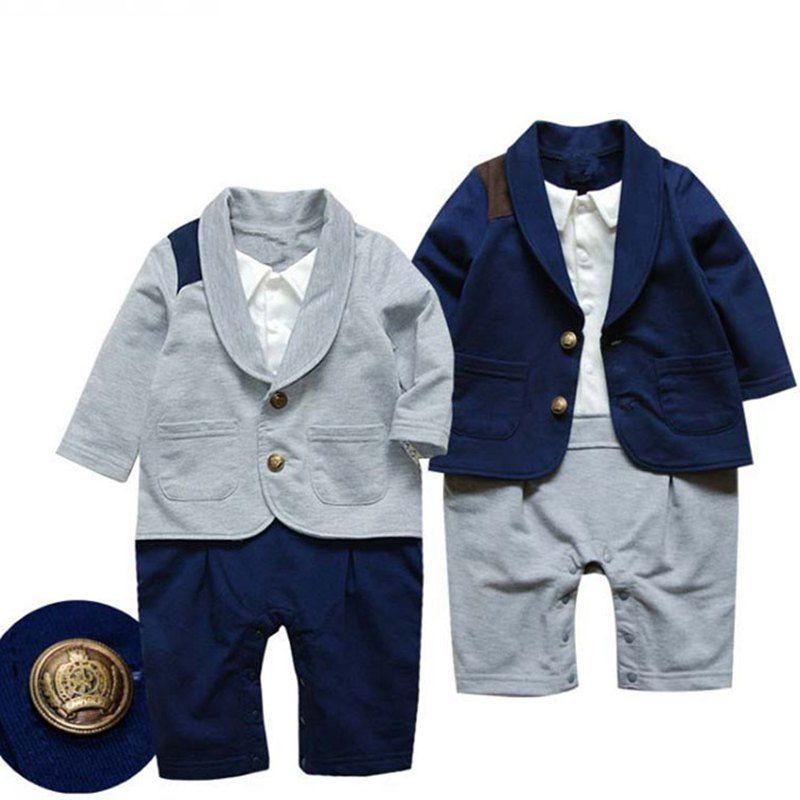 Navy One Piece Baby Boy Gentleman Suit Boys Rompers Jumpsuit Long Sleeve Kids Clothes Infant Clothing Macacao Bebe Menino 2017 summer baby rompers tuxedo shortall jumpsuit bebe clothing two piece set vest bowtie baby braces rompers kid clothes