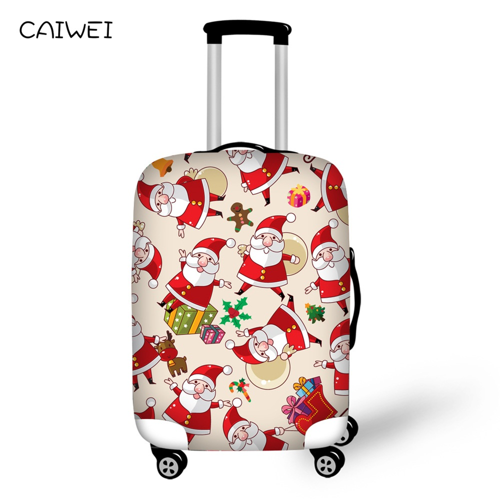 Elastic Travel Trolley Accessories Santa Claus Print Waterproof Luggage Protective Cover 18-30inch Suitcase Best Christmas Gifts