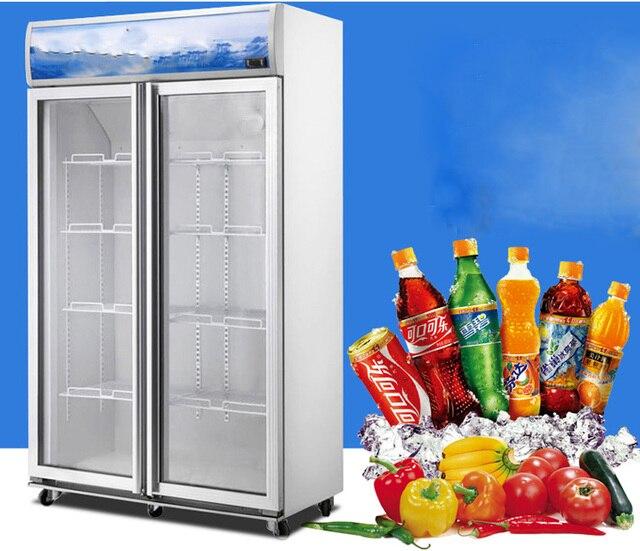488L commercial glass fridge 2 glass door, vertical Refrigerators display cabinet 1