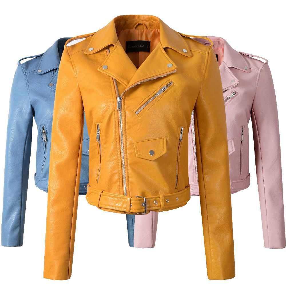 Baru 2020 Musim Gugur Musim Dingin Jaket Kuning Jaket Kulit Wanita Kulit Slim Pu Jaket Kulit