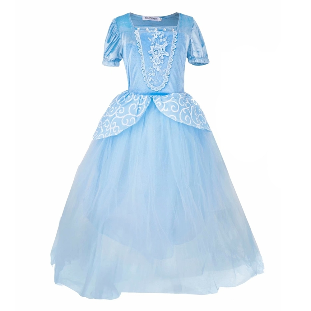 Girls Cinderella Princess Dresses Outfit Multi Layers Make-up Party Kids Homecoming Prom Robes Gown Cinderella Costumes