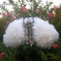 modabelle New Style Turkey Ostrich Feathers Womens Fur Capes White/Red/Black/Pink Bridal Faux Fur Wedding Wrap Bolero Jacket