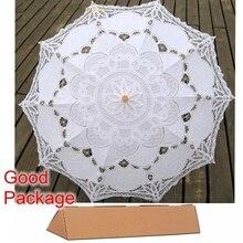 Novo Rendas De Algodão Guarda-chuva Bordado Branco/Marfim Battenburg Lace Parasol Umbrella Casamento Umbrella Decoração Frete Grátis(China (Mainland))