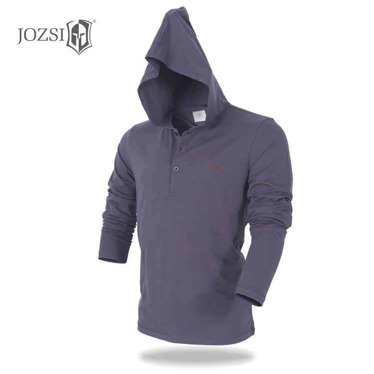 JOZSI  V-Neck Slim Fit Long Sleeve  Breathabel T Shirt Mens Casual Hoodie Cotton Tops Tees Anti-UV Shirt Male