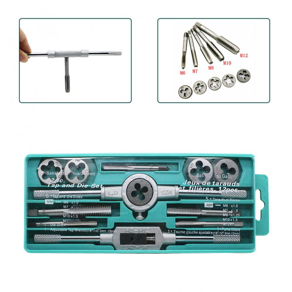 12pcs Tap Dies Set NC Screw Thread Plugs Taps M3-M12 Carbon Steel Hand Screw Taps With Wrench 20pcs m3 m12 screw thread metric plugs taps tap wrench die wrench set