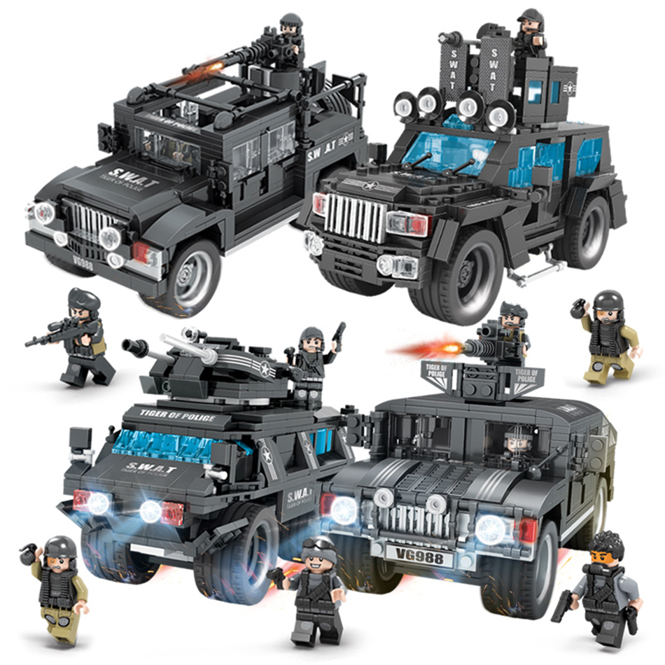 SWAT Team Commando Trucks Military Figures Building Blocks Set Compatible legoed City Police Enlighten Toys for Children Boys military city police swat team army soldiers with weapons ww2 building blocks toys for children gift