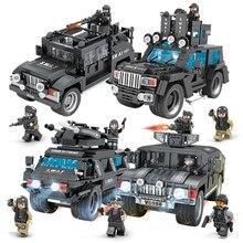 A Equipe Da SWAT Comando Caminhões Militares Figuras Building Blocks Set Compatível legoed Cidade Polícia Iluminai Brinquedos para As Crianças Meninos