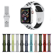 Silicone strap For apple watch 44 42mm 40 38mm Sport Bracelet breathable Rubber wristbelt watchband adapter