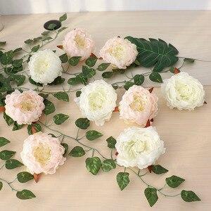 Image 3 - 50 sztuk sztuczne kwiaty głowy hortensja piwonia kwiat głowy jedwab sztuczny ściana kwiatów na ślub tło dekoracji ściany