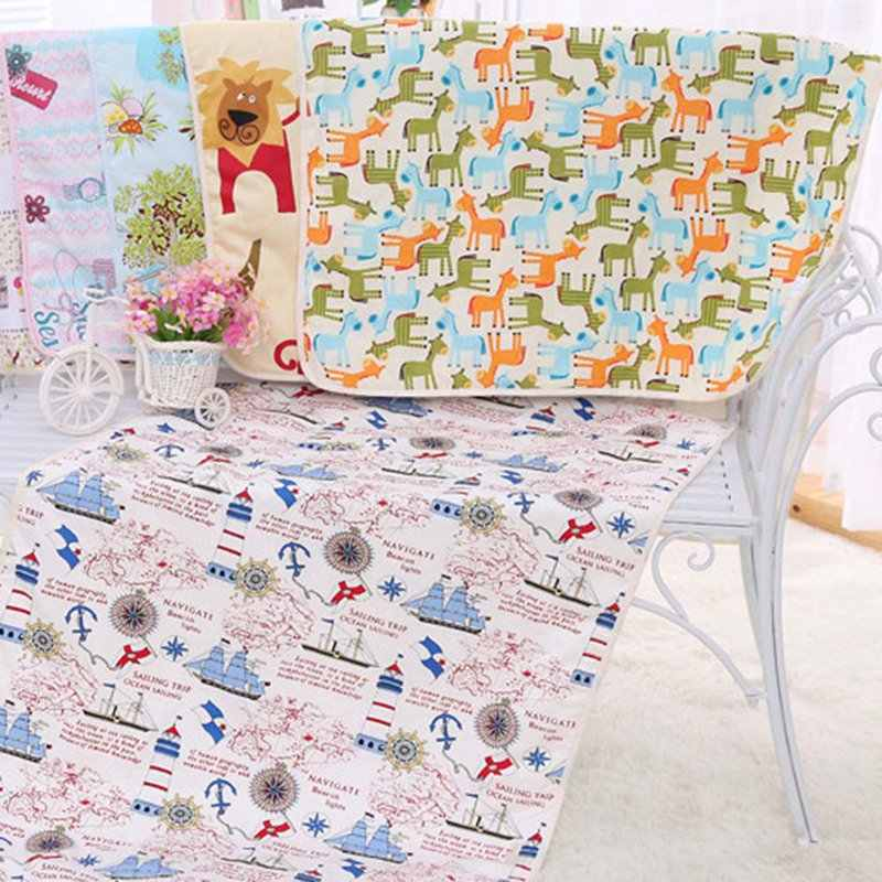 75*120cm  Baby Waterproof Sheet Changing Pads Cartoon Reusable Infant Bedding Nappy Burp Mattress Changing Mat