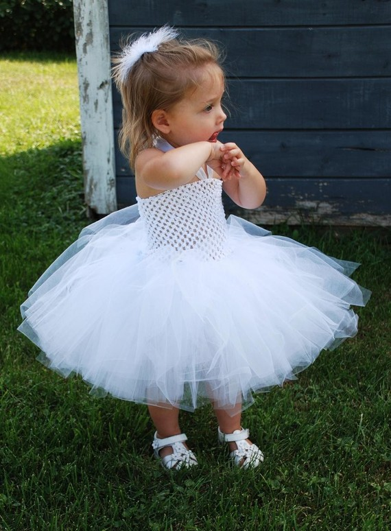 pure white tutu tulle baby bridesmaid flower girl wedding dress fluffy ball gown USA birthday evening prom cloth party dress baby flower girl wedding dress fluffy ball gown birthday evening prom clothing tutu party dress