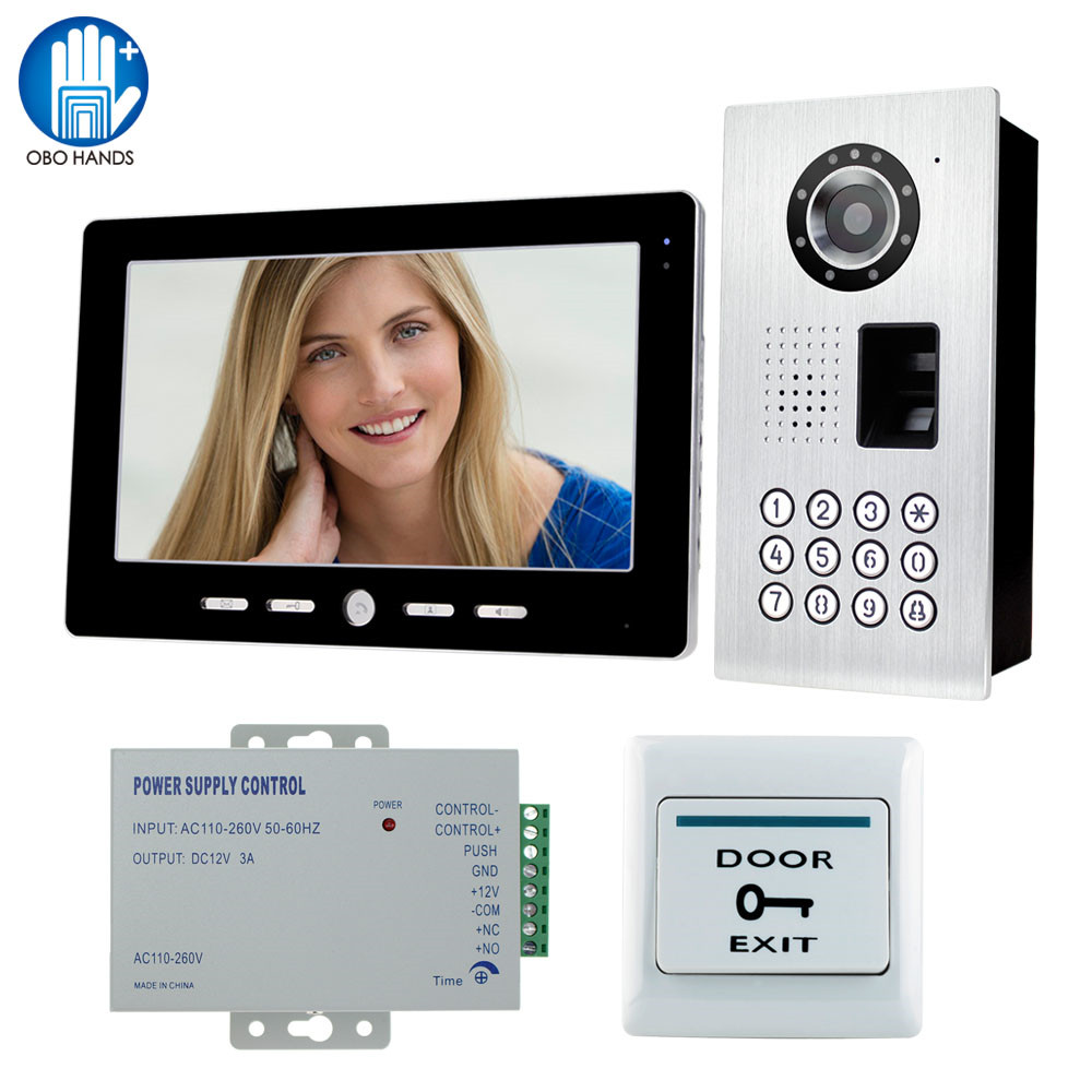 цена на 10 Video Door Phone Kit Set of Indoor Monitor Unit+Outdoor Camera Unit+Power Supply+Door Exit Button for Access Control System