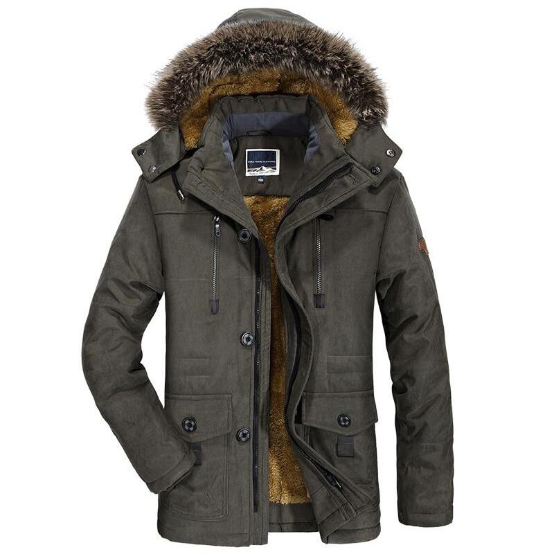 Image 4 - Winter Jacket Men Fur Collar Thicken Casual Cotton Jackets Windbreaker Plus Velvet Parkas Size 6XL Mens Winter Long Overcoat-in Parkas from Men's Clothing