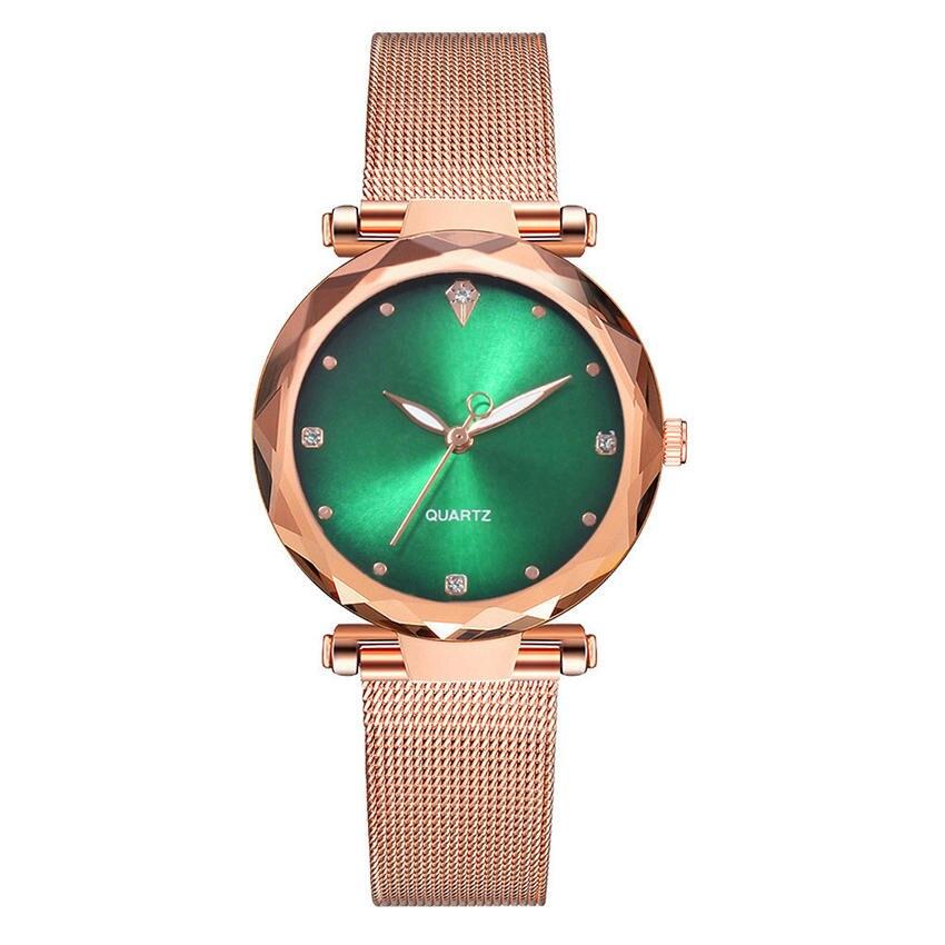 Luxury Ladies Watch Fashion Women's Watches Rose Gold High-grade Gemstone Wrist Watch Waterproof Ultra-thin Fine Fashion Clock