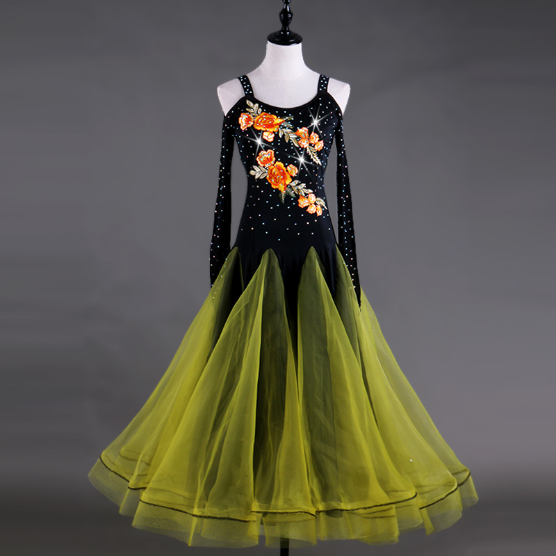 cf0a5896e6de flamenco woman women's modern ballroom dance competition dresses adult  women girls children kids standard viennese waltz ladies