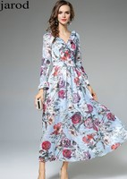 High Quality Newest Spring Fashion Runway 2017 Designer Dress Women S Gorgeous Floral Printed Dress