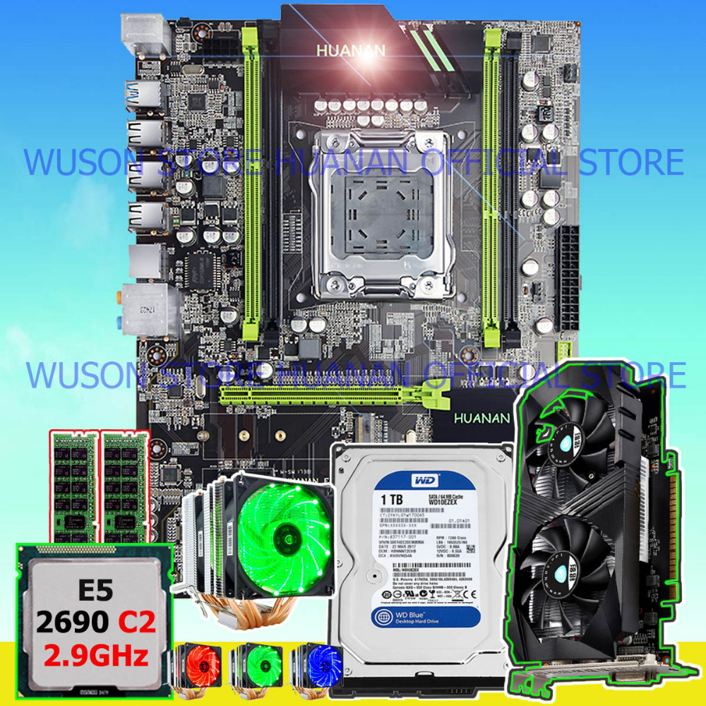 Hot sell HUANAN ZHI X79 motherboard with CPU Xeon E5 2690 C2 2.9GHz RAM 16G(2*8G) 1600 RECC video card GTX1050Ti 4G SATA 1TB HDD цена
