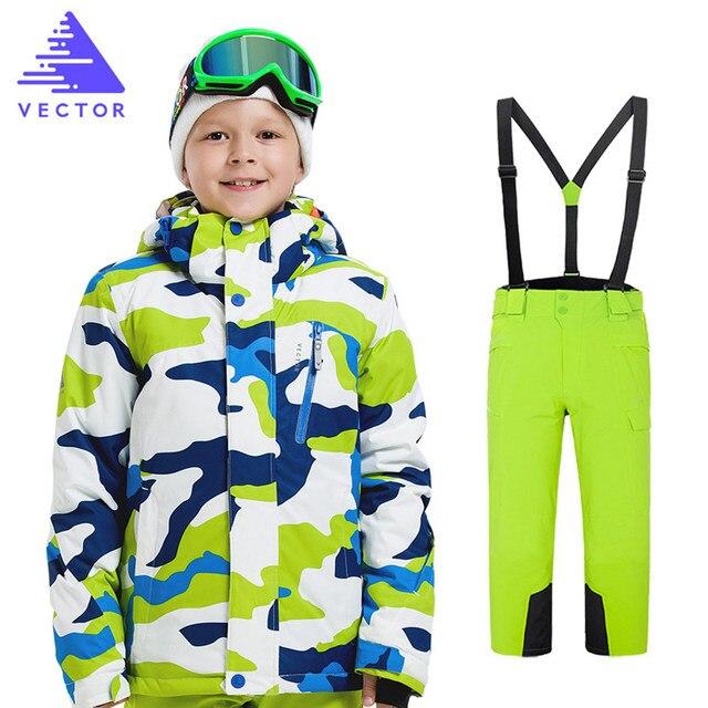 c3c5260a2 Niños chaqueta de esquí pantalones niños impermeable a prueba de viento  ropa niños esquí invierno cálido