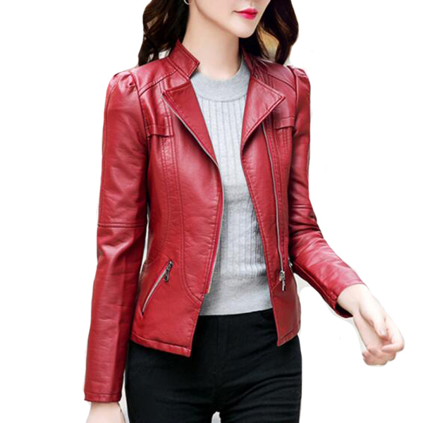 Black,Gray,Burgundy   Leather   Motorcycle Jacket New Fashion Spring Autumn Women Long Sleeved Zipper PU   Leather   Jackets Pockets