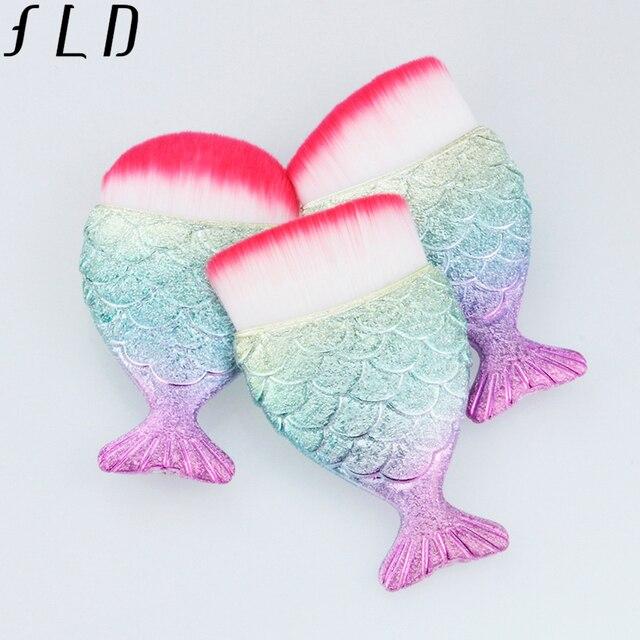 FLD 1Pcs Professional Mermaid Shape Makeup Brush Foundation Cosmetic Fish Brush Makeup Tools Kit Powder Face Blush Brush 4