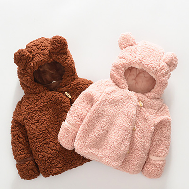 602b66a0f 2018 Winter Baby Girls Hooded Plush Coat Kids Cute Soft Bear Ear ...