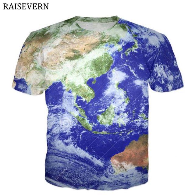 World Map T Shirt Men 3d Print Retro Globe Image Men Tops Tees Funny