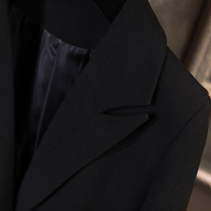 Blazers Mode Outwear Couleur Unique Long De Pleine Moyen Femmes Poitrine Noir Manches Black PqrwPz