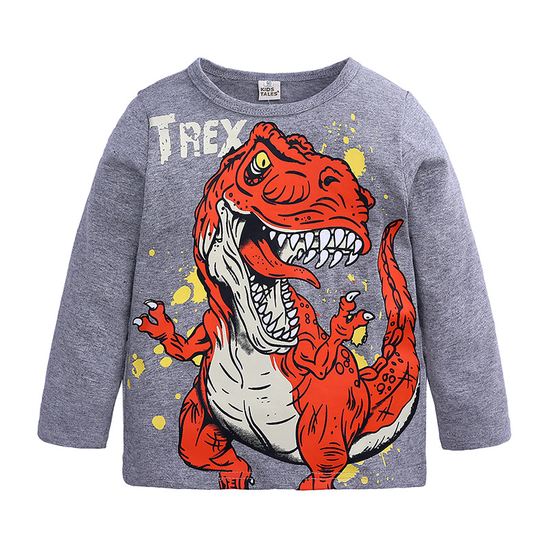 Toddler Boys Dinosaur Jumper Long Sleeve T <font><b>Shirt</b></font> Tops Kids Sweatshirt Boy Cartoon Clothes <font><b>2</b></font> 3 4 5 6 7 Years image